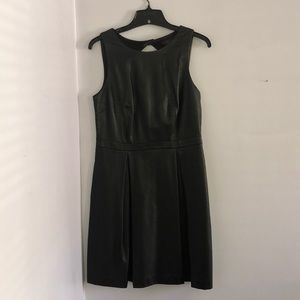Sz 8 Faux Leather Black Cocktail Dress